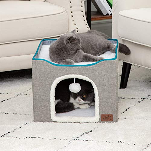 Bedsure Cat Cube Kitty Bed Cat House Condo for Indoor or Outdoor Cats - Large Cat Bed Foldable with Fluffy Ball Hanging and Scratch Pad, 16.5x16.5x14 inches, Grey