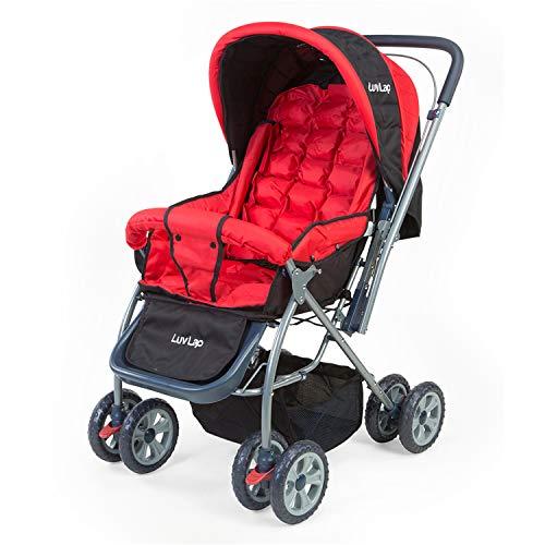 LuvLap Starshine Stroller/Pram, Easy Fold for Newborn Baby/Kids, 0-3 Years (Red)