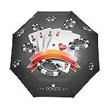 AOTISO Paraguas a Prueba de Viento Plegable del Viaje del Cierre automático de la Tarjeta del póker del Tema del Casino