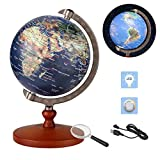 FUN GLOBE 2 in 1 LED World Globe Desktop Decoration Geographic Interactive Earth Globes for Kids & Adults for Educational Toys/Office Supplies/Indoor Decorations/Holiday Gift (Navy, 5 Inches)