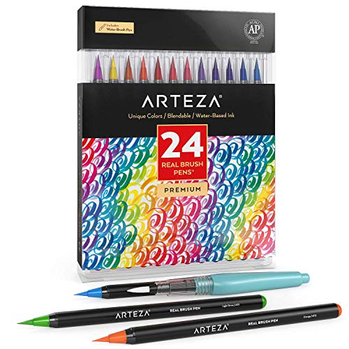 Arteza Real Brush Pens, 24 Colors for Watercolor Painting with Flexible Nylon Brush Tips, Paint Markers for Coloring, Calligraphy and Drawing with Water Brush for Artists and Beginner Painters