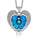CDE romantique dauphin pendentif femme collier bijoux cadeau de fête d'anniversaire avec étincelant cristaux autrichiens plaqué or blanc pendentif coeur...