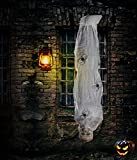4E's Novelty Halloween Decorations Outdoor Props 60 Inch, Hanging Cocoon Corpse, Spooky Scary Creepy Mummy Decorations, Horror Scene Decor with Spider, Flexible