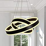 Modern Contemporary Led Chandeliers, 2-Ring Circular LED Hanging Pendant Lighting with Remote Control for Dining Room, Black, 3000k Meenyo