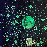 Luminoso Pegatinas de Pared, 30cm Luna y Estrellas Puntos 435 Pzas, Fluorescente...