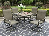 Sophia & William Patio Dining Set, 1 Square 37'x 37' Umbrella Table, 4 Swivel Chairs Furniture Set for Outdoor Garden Lawn Pool Metal Frame Easy to Care Weather Resistant
