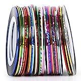 TRIXES 30 tiras adhesivas de colores para decoración de uñas - bobinas de tiras adhesivas de colores ...