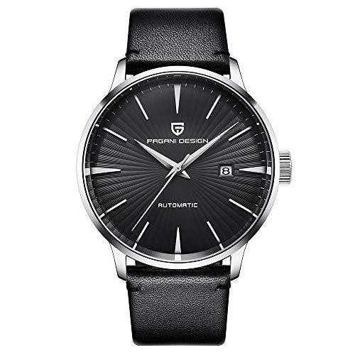 Smartwatches,Watch Machinery Watch Trend Business Herrenuhr Wasserdichter Ledergürtel Schwarz