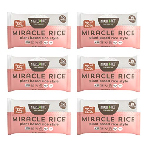 Miracle Noodle Miracle Rice - Gluten-Free Shirataki Rice, Keto, Vegan, Soy Free, Zero Carbs, Zero Calories, Kosher, Paleo, Dairy Free - 8 Ounce, Pack of 6
