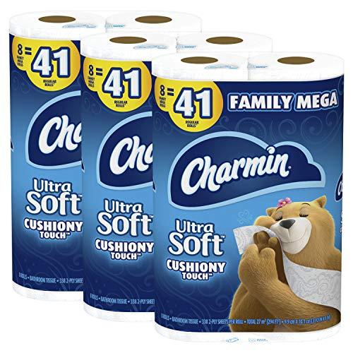 Charmin Ultra Soft Cushiony Touch Toilet Paper, 24 Family Mega...