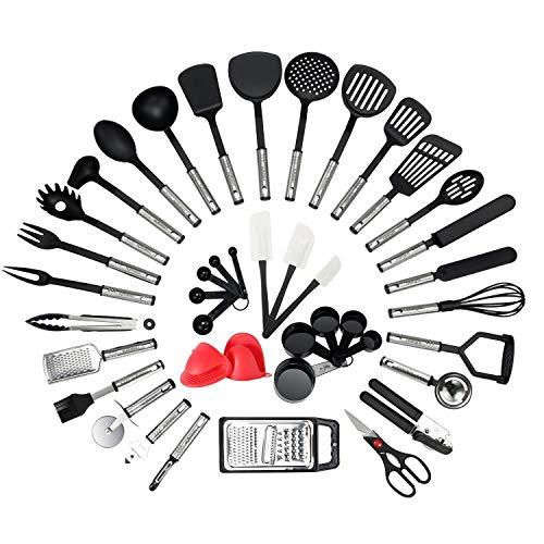 NEXGADGET Set di Utensili da Cucina in Acciaio Inox e Nylon 42 Pezzi Incluso Cucchiaio Spatola Pinze Forcella Mestolo Apribottiglie Pelapatate Forbici da Cucina Cucchiai di Misurazione ECC.