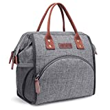 LOKASS Lunch Bag Insulated Lunch Box Wide-Open Lunch Tote Bag Large Drinks Holder Durable Nylon Thermal Snacks Organizer for Women Men Adults College Work Picnic Hiking Beach Fishing,Grey