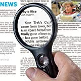 SeeZoom Lighted Magnifying Glass 3X 45x Magnifier Lens - Handheld Magnifying Glass with Light for Reading Small Prints, map, Coins and Jewelry - LED Magnifying Glass