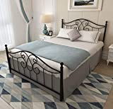 Vintage Sturdy Queen Size Metal Bed Frame with Headboard and Footboard Basic Bed Frame No Box Spring Needed (Queen, Black)