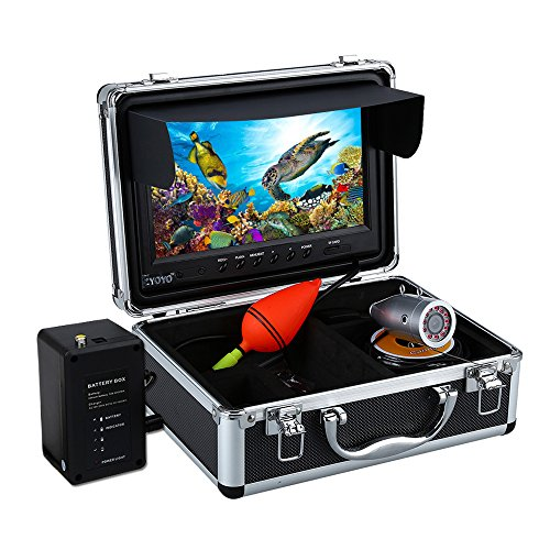 Eyoyo Portable 9 inch LCD Monitor Fish Finder HD 1000TVL Fishing Camera Waterproof Underwater DVR Video Cam 50m Cable 12pcs IR Infrared LED for Ice,Sea,Lake and Boat Fishing