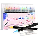 20 Colors Watercolor Markers Brush Pen Set,Watercolor Brush Pens with Soft Flexible Tip, Water Soluble for Adult Coloring Books Manga Comic