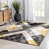 Well Woven Good Vibes Rosa Gold Modern Tribal Geometric 5'3' x 7'3' 3D Texture Area Rug, Grey