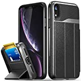 Vena iPhone XR Wallet Case, vCommute (Military Grade Drop Protection) Flip Leather Cover Card Slot Holder with Kickstand, Designed for Apple iPhone XR - Space Gray