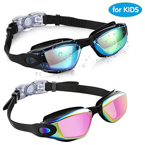 Aegend Kids Swim Goggles, Pack of 2 Swimming Goggles for Children Boys & Girls Age 3-9, Silicone Nose Bridge, Clear Vision, Easy-Adjustable Strap, UV Protection, Anti-Fog, No Leaking, Aqua & Fuchsia