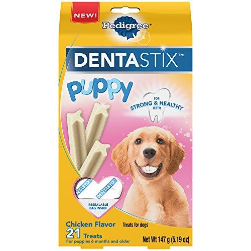 PEDIGREE DENTASTIX Puppy Dental Dog Treats Chicken Flavor Dental Bones, 5.19 oz. Pack (21 Treats)