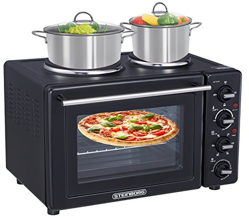 9in1 Mini Backofen 35 Liter mit Kochplatten   Umluft   Pizzaofen   elektrischer Drehspieß   3100 Watt   2 separat regelbare Kochplatten   100°C-250°C   Krümelblech   Minibackofen  