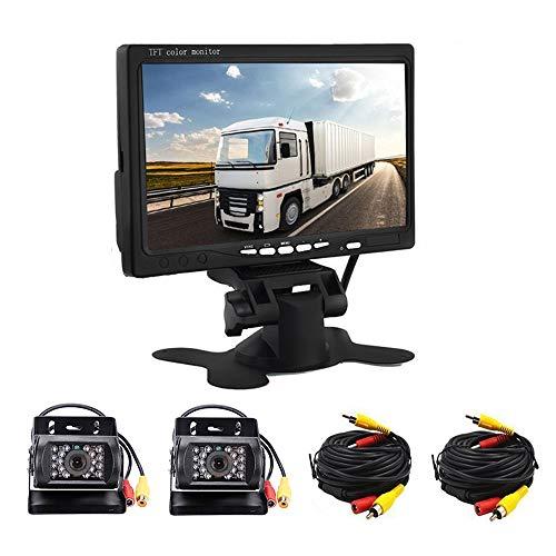 Kit telecamera posteriore per retromarcia, con due dispositivi di visione notturna a infrarossi, display HD da 7 pollici, telecamera per retromarcia per camper, autobus, rimorchi e camion