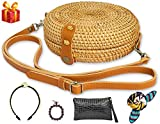 DENALIFE Round Rattan Bag With 4 FREE GIFTS (Handbag/Wallet/Scarf/Bracelet) Handwoven Wicker Straw Bag, Handmade Crossbody Purse, Bamboo Circle beach bags, Chic Handbag for Women and Girls
