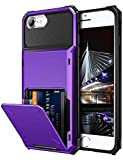 Vofolen Case for iPhone 6s Case iPhone 8 Wallet Credit Card Holder ID Slot Pocket Scratch Resistant Dual Layer Protective Bumper Rugged TPU Rubber Armor Hard Shell Cover for iPhone 6 6s 7 8 (Purple)