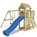 WICKEY Aire de jeux Portique bois MultiFlyer toit en bois avec balançoire et toboggan bleu, Maison enfant exterieur avec toit en bois, bac à sable, échelle d'escalade & accessoires de jeux