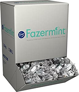 Fazermint is a premium quality chocolate brand in a unique silver box. The product has delicious flowing mint cream centre in smooth dark chocolate. One Lot = One Box = 3,0 kg = approximately 389 pieces