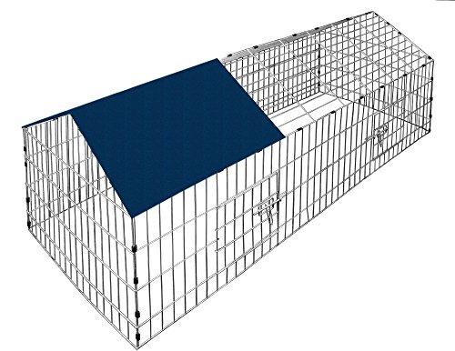 Deuba Kaninchenstall Hasenkäfig Hasengehege Hasenstall Käfig Freilauf Gehege Metall mit blauem Sonnenschutz