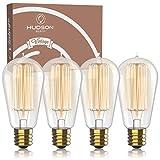Antique Vintage Edison Bulb 4 Pack - 60 watt - Hudson Lighting 60 watt Vintage Light Bulb - ST58 - Squirrel Cage Filament - 230 Lumens - Dimmable - E26 Bulb Base – Edison Light Bulbs - Warm White