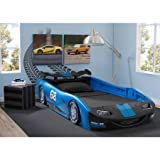 Delta Children Turbo Race Car Twin Bed | 47.5'W x 22.5'H x 94'D (Blue)