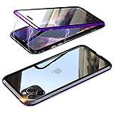 YSAN iPhone11Pro ケース アルミバンパー 両面ガラス 360度全面保護 クリアフルカバー 表裏磁……