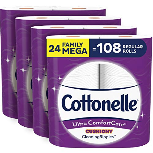 Cottonelle Ultra ComfortCare Soft Toilet Paper with Cushiony Cleaning Ripples, 24 Family Mega Rolls, Bath Tissue (24 Family Mega Rolls = 108 Regular Rolls)
