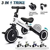 XJD 3 in 1 Kids Tricycles for 1-3 Years Old Kids Trike 3 Wheel Bike Boys Girls 3 Wheels Toddler Tricycles Toddler Bike Trike Upgrade 2.0 (White)