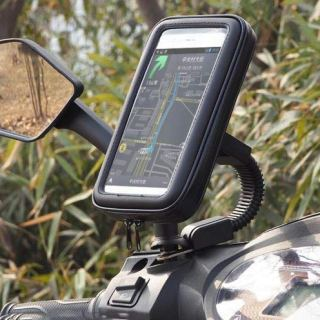 ssms Mobile Waterproof Bike Scooty Holder|Waterproof Phone Mount at Rear View Mirror| Smartphone Motorcycle Mobile Zip Pouch Holder with 360* Adjustable Mount for All Mobile Phones.(Black)