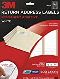 3M Return Address Labels, White, 1/2-inch x 1 3/4-inch, 10 Sheets per Pack (3300-R) (800 total labels)
