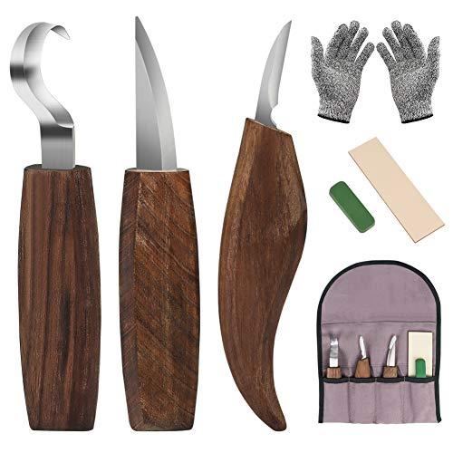 Holz Schnitzmesser,DIAOPROTECT 6-in-1 Walnuss Schnitzmesserset-Beinhaltet Schnitzhakenmesser,Schnitzmesser,Spanschnitzmesser,schnittfeste Handschuhe,Schnitzmesserschärfer für Löffelschalenbecher Kuksa
