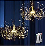 Battery Chandelier 2 Pack, Firework Lights Starburst Light 180 LEDs | Battery Operated Fairy Light | Hanging Decorative Lights for Party Garden Patio Umbrella, DIY Indoor/Outdoor Using, Warm White