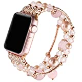 Suppeak Band Compatible with Apple Watch 38mm 40mm, Women Girl Elastic Handmade Pearl Bracelet Replacement for 38mm Apple Watch Series 4 3 2 1, Pink