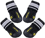 QUMY 4 Piece Dog Boots Waterproof Shoes for Large Dogs with Reflective Velcro Rugged Anti-Slip Sole, Black, 8