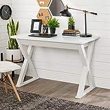 Walker Edison Lawrence Urban Industrial X Leg Glass Top Computer Desk, 48 Inch, White