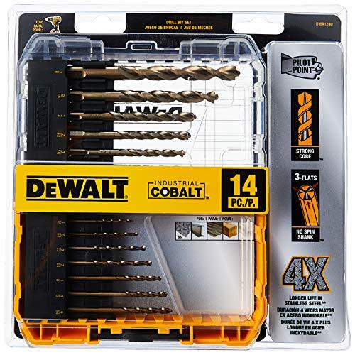 DEWALT Cobalt Drill Bit Set with Pilot Point, 14-Piece...