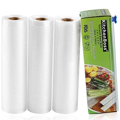 KitchenBoss Sacchetti Sottovuoto per Alimenti,6 Pezzi da20x500cm e 28x500cm,30 M,(Non più forbici) Rotoli Sacchetti goffrati,per Conservazione Alimenti e Cottura Sous Vide