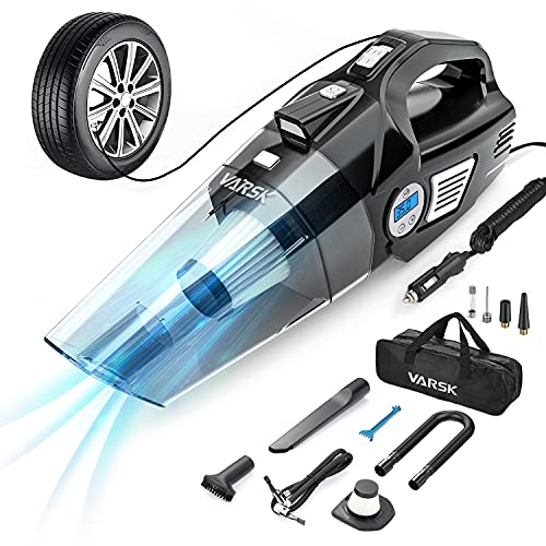 VARSK 4-in-1 Car Vacuum Cleaner, Tire Inflator Portable Air Compressor with Digital Tire Pressure Gauge LCD Display and LED Light, 12V DC Air Compressor Pump, 15FT Cord, Bonus HEPA Filter and Nozzles
