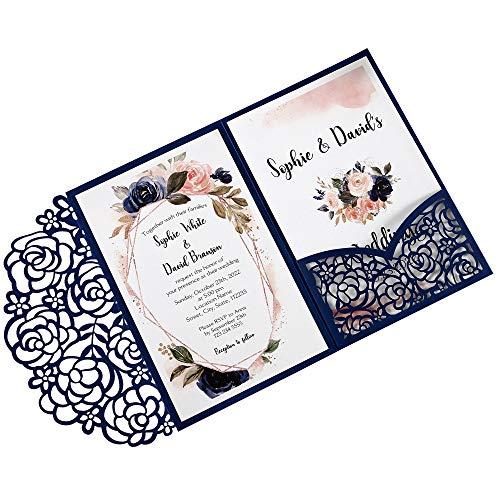 DreamBuilt 4.7 x7 inch 50PCS Blank Navy Blue Wedding Invitations Kit Laser Cut Hollow Rose Pocket Wedding Invitation Cards with Envelopes for Wedding Bridal Shower Engagement Invite