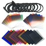 XCSOURCE 24pcs Square Full Colors ND2/ND4/ND8 Filters + Graduated G.ND2 G.ND4 G.ND8 Filter Set + 9 Size Adapter Ring (49/52/55/58/62/67/72/77/82MM) +1 PCS Filter Holder for cokin p Series LF078