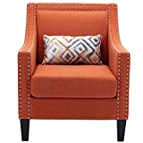 Modern Accent Living Room Chair Soft Fabric Chair Single Sofa Arm Chair for Living Room, Bedroom and Office, Orange