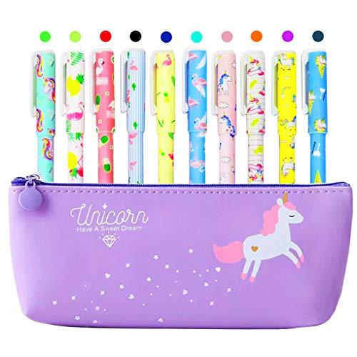 Astuccio con motivo unicorno, con 10 penne colorate con figure di unicorni e fenicotteri, idea regalo per ragazze